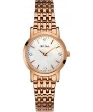 Bulova 97P106 Ladies diamant rose goud vergulde armband horloge