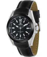 Marea 54048-1 Mens mode zwarte piel lederen band horloge