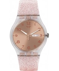 Swatch SUOK703 New gent - roze glistar horloge
