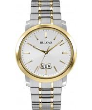 Bulova 98B214 Mens kleden zilveren stalen armband horloge