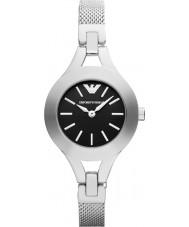 Emporio Armani AR7328 Dames zwart en zilver jurk horloge