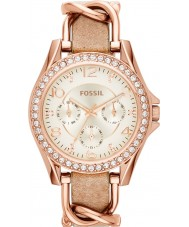 Fossil ES3466 Ladies riley horloge lederen band zand