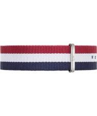 Daniel Wellington DW00200017 Heren Classic Cambridge 40mm zilver blauw wit en rood nylon reserveonderdelen riem