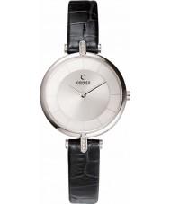 Obaku V168LECIRB Dames zilveren toon stenen set zwart lederen band horloge