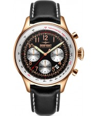 Dogfight DF0035 Mens wingman zwart lederen chronograaf