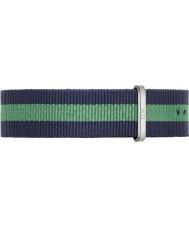 Daniel Wellington DW00200019 Heren Classic warwick 40mm zilver blauw en groen nylon reserveonderdelen riem