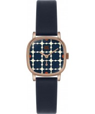 Orla Kiely OK2054 Ladies cecelia bloemrijke marine lederen band horloge