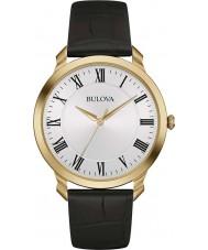Bulova 97A123 Mens jurk zwart lederen band horloge
