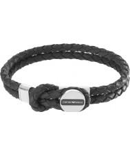 Emporio Armani EGS2178040 Mens handtekening zwart lederen armband