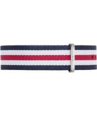 Daniel Wellington DW00200016 Heren Classic canterbury 40mm zilver blauw wit en rood nylon reserveonderdelen riem