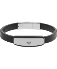 Emporio Armani EGS2186040 Mens handtekening zwart lederen armband