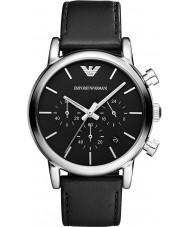 Emporio Armani AR1733 Heren Classic chronograaf zwart lederen band horloge