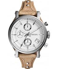 Fossil ES3625 Ladies originele vriendje chronograaf bot lederen band horloge