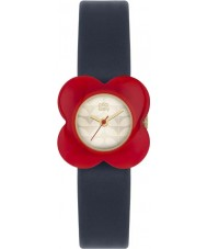 Orla Kiely OK2062 Ladies papaver rode bloem geval navy lederen band horloge