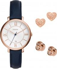 Fossil ES4140SET Ladies jacqueline marine chronograaf horloge met oorbellen cadeau set