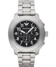 Emporio Armani AR6056 Mens zwart zilver chronograaf sporthorloge