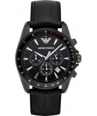 Emporio Armani AR6097 Mens sport zwart lederen band horloge