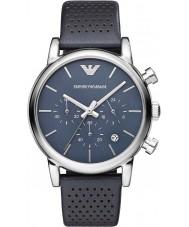 Emporio Armani AR1736 Heren Classic chronograaf blauwe lederen band horloge