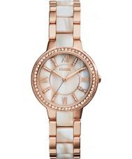 Fossil ES3716 Dames Virginia roos en shimmer hoorn horloge
