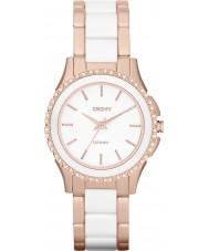 DKNY NY8821 Ladies Westside keramische witte roos gouden horloge
