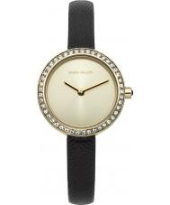 Karen Millen KM146BGA Dames zwart lederen dunne riem horloge
