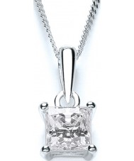 Purity 925 PUR1641P Dames 925 sterling zilveren prinses geslepen solitaire ketting