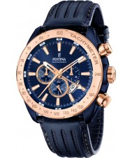 Festina F16897-1 Mens prestige blauw lederen chronograaf