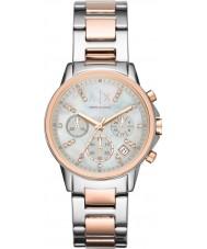 Armani Exchange AX4331 Dames zilver en rose gouden chronograaf jurk horloge