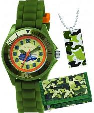 Tikkers ATK1003 Jongens tank kakigroen horloge cadeau set met portemonnee en halsketting