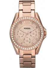 Fossil ES2811 Ladies Riley rose goud staal chronograafhorloge