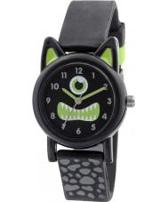 Tikkers TK0097 Jongens zwarte siliconen monster horloge