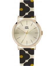Orla Kiely OK2074 Ladies patricia zwart bloemrijke lederen band horloge