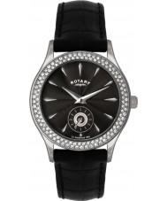 Rotary LS02908-04 Ladies stenen set zwart horloge