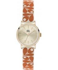 Orla Kiely OK2078 Ladies patricia eikel afdruk oranje-crème lederen band horloge