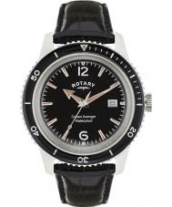 Rotary GS02694-04 Mens uurwerken oceaan wreker zwart lederen band horloge