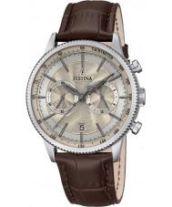 Festina F16893-7 Mens retro bruin lederen chronograaf