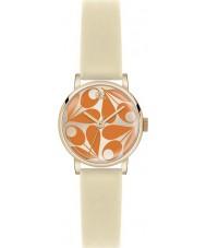Orla Kiely OK2080 Ladies patricia oranje crème lederen band horloge
