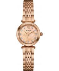 Bulova 97S116 Ladies diamant rose goud vergulde armband horloge