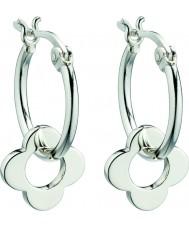 Orla Kiely E5226 Ladies sterling zilveren vier punten bloem hoepel oorbellen