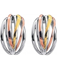 Calvin Klein KJ1RDE300100 Ladies scherpe driekleurige mix hoepeloorringen