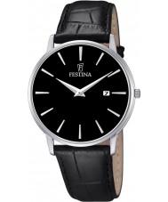 Festina F6831-4 Mens klassieke zwarte lederen band horloge