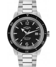 Rotary GB02694-04 Mens uurwerken oceaan wreker zwart zilver stalen horloge