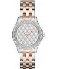 Armani Exchange AX5249 Dames zilveren en rose goud vergulde armband jurk horloge