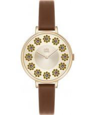 Orla Kiely OK2084 Ladies klimop swarovski bloemrijke ingesteld bruin lederen band horloge