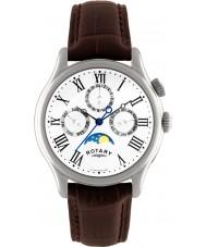 Rotary GS02838-01 Mens uurwerken maanstand bruine lederen band horloge