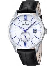 Festina F16872-1 Mens klassieke zwarte lederen band horloge