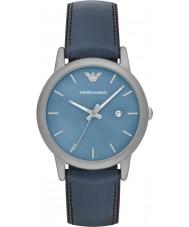 Emporio Armani AR1972 Mens klassieke blauwe lederen en siliconen band horloge