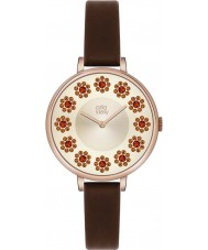 Orla Kiely OK2086 Ladies klimop swarovski bloemrijke ingesteld donker bruin lederen band horloge