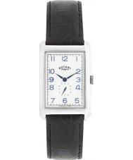 Rotary GS02697-21 Mens uurwerken Portland zilver zwart lederen band horloge