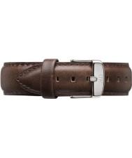 Daniel Wellington DW00200023 Mens klassieke Bristol 40mm zilver bruin lederen reserveonderdelen riem